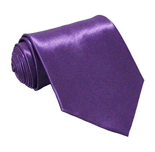 Soophen NEW Mens Necktie SOLID Satin Neck Tie (Purple Mens Tie)