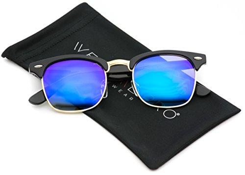 WearMe Pro - Half Frame Retro Semi-Rimless Style Sunglasses Retro Mirror Lens Sunglasses Black Frame / Candy Blue Lens
