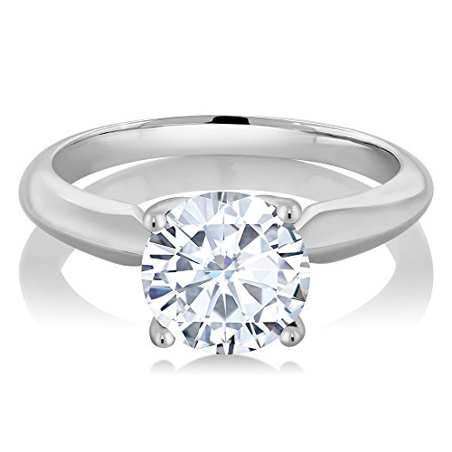 1.00 Carat Round Created Moissanite 925 Sterling Silver Women's Engagement Solitaire Ring (Available in size 5, 6, 7, 8, 9)