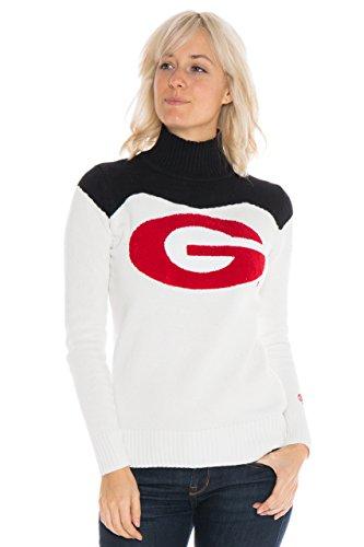 (Alma Mater NCAA Georgia Bulldogs Women's Cheer Sweater, X-Large, Cream/Black)