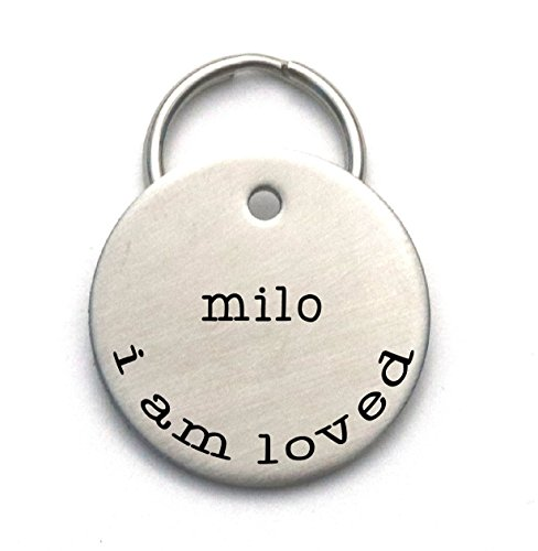 Simple Dog Tag Customized With Your Pet's Name and Phone, I am Loved - Engraved Metal ID - Cute ()