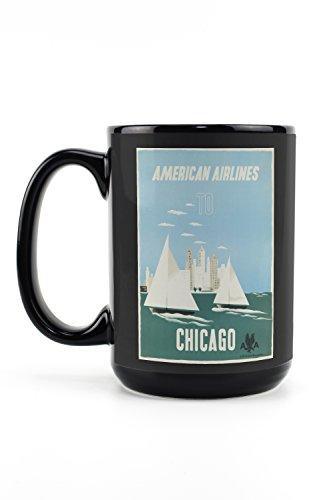 American Airlines - Chicago (artist: Kauffer) USA c. 1951 - Vintage Advertisement (15oz Black Ceramic Mug - Dishwasher and Microwave Safe)