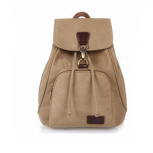 ZOORON Drawstring Canvas Backpack Vintage Rucksack Casual Daypack with Adjustable Shoulder Strap for Sports Travelling (Khaki)