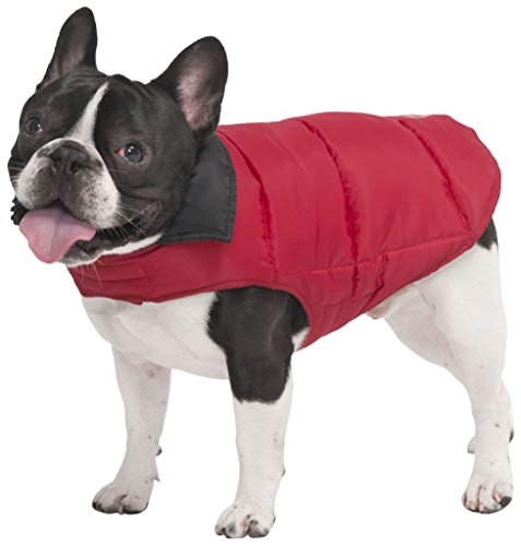 Fashion Pet Reversible Arctic Dog Coat, Small, Red Velcro neck and belly straps for easy on/off