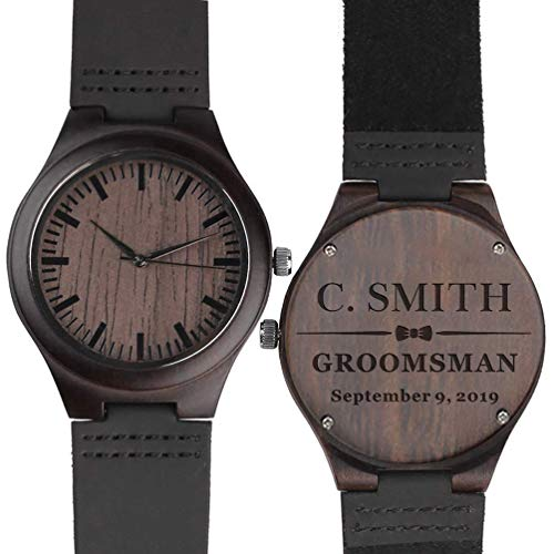 Custom Engraved Wooden Watches for Men Personalized Groomsmen Gifts Ideas Anniversary Gifts for Men Leather Strap Double-Sided Engraved ()