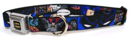 "Batman & Joker Seat Belt Buckle Dog Collar 1"" 9-15"""