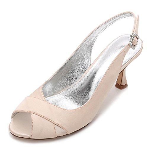 L@YC Women's Wedding Shoes P17061-16 Satin Peep Toe Bridal Bridesmaid Fashion Jane Style Low Heel Party Court Shoes 3-8 Champagne qb1R54rq