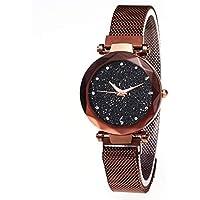 Reloj de Pulsera Mujer, brazalete de reloj analógico con escalas de diamante con movimientos de cuarzo y correa magnética, reloj casual y duradero de cielo estrellado, regalo de cumpleaños perfecto