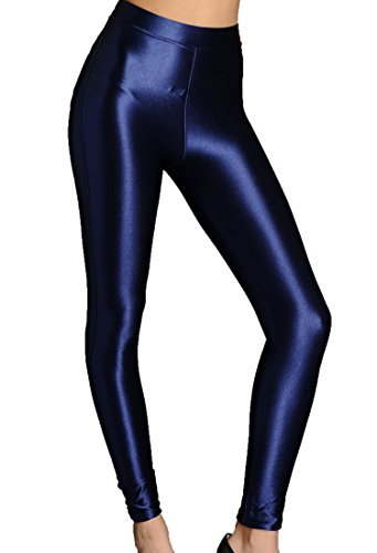 xQuare New American Style Apparel Shiny High Waisted Stretchy Disco Pants Leggings (Small, Midnight -