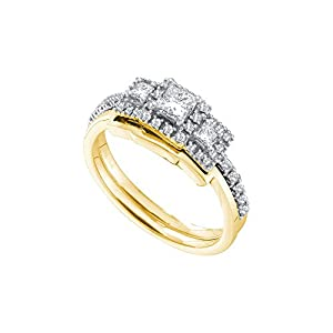 14kt Yellow Gold Womens Princess Diamond 3-Stone Bridal Wedding Engagement Ring Band Set 1/2 Cttw