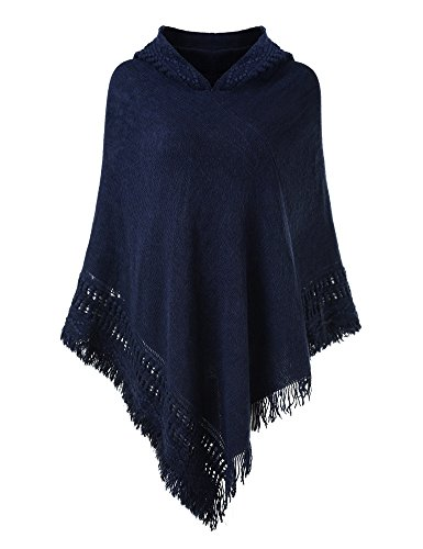 Ferand Ladies' Hooded Cape with Fringed Hem, Crochet Poncho Knitting Patterns for Women, Navy Blue