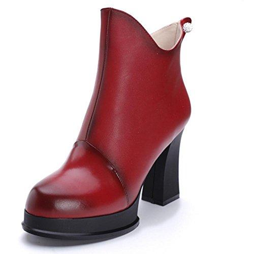 el mujer negro de todo de red HFour al ayuda resistencia rhinestone grueso alta cuero H Women botas Rojo Seasons 37 desgaste goma XIAOGANG gris y antideslizante wFOI8F