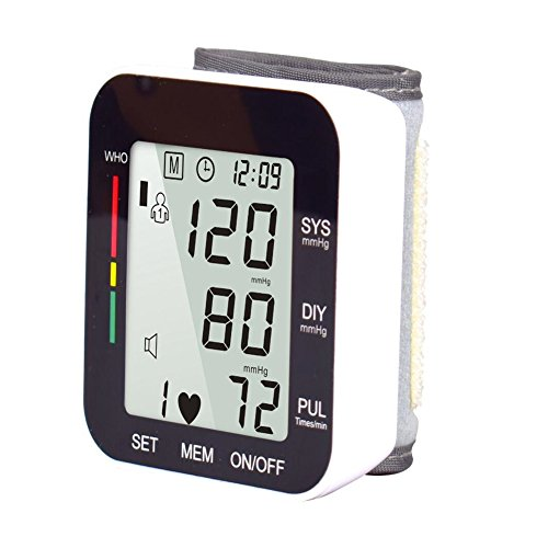 - LQUIDE Wrist Blood Pressure Monitor, Automatically Measure,Digital Sphygmomanometer LCD Screen Display And Voice Broadcast For Blood Pressure And Heart Beat,Black