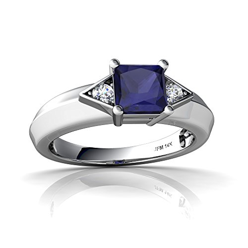 14kt White Gold Sapphire and Diamond 5mm Square Art Deco Ring - Size 8.5 ()