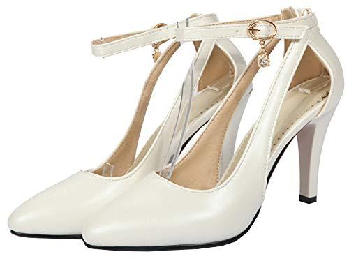 Luccichio GMMDB010641 Puro Donna Bianco Ballet Fibbia Flats Tacco AgooLar Alto OwZqpq5