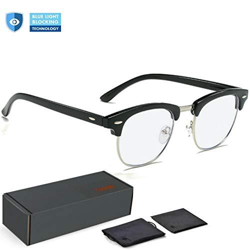 Teddith Blue Light Blocking Glasses Anti Blue Light Computer Reading Glasses Reduce Eye Strain Headache Better Sleep for Men/Women Half Frame Clear Lens ()