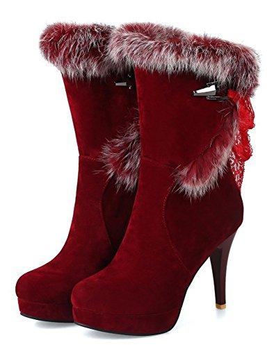 Rouge Bottines Aiguille Femme Talon Lh34s5 Easemax Fashion Fourrure nw8qTpxqfY