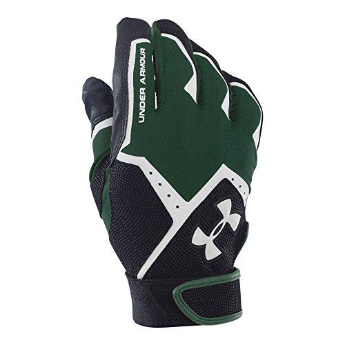 Baseball Batting Gloves - Under Armour Men's Clean-Up VI Batting Gloves, Forest Green (301)/White, Large