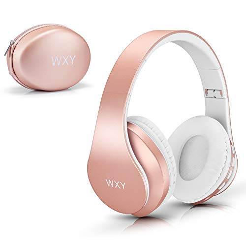 13 - Over Ear Bluetooth Headphones, WXY Girls Wireless Headset V5.0 with Built-in Mic, Micro TF, FM Radio, Soft Earmuffs & Lightweight for iPhone/Samsung/PC/TV/Travel(Rose Gold)
