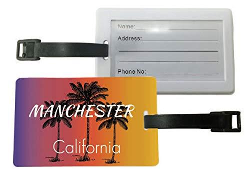 Manchester California Palm Tree Surfing Souvenir Travel Luggage Tag ()