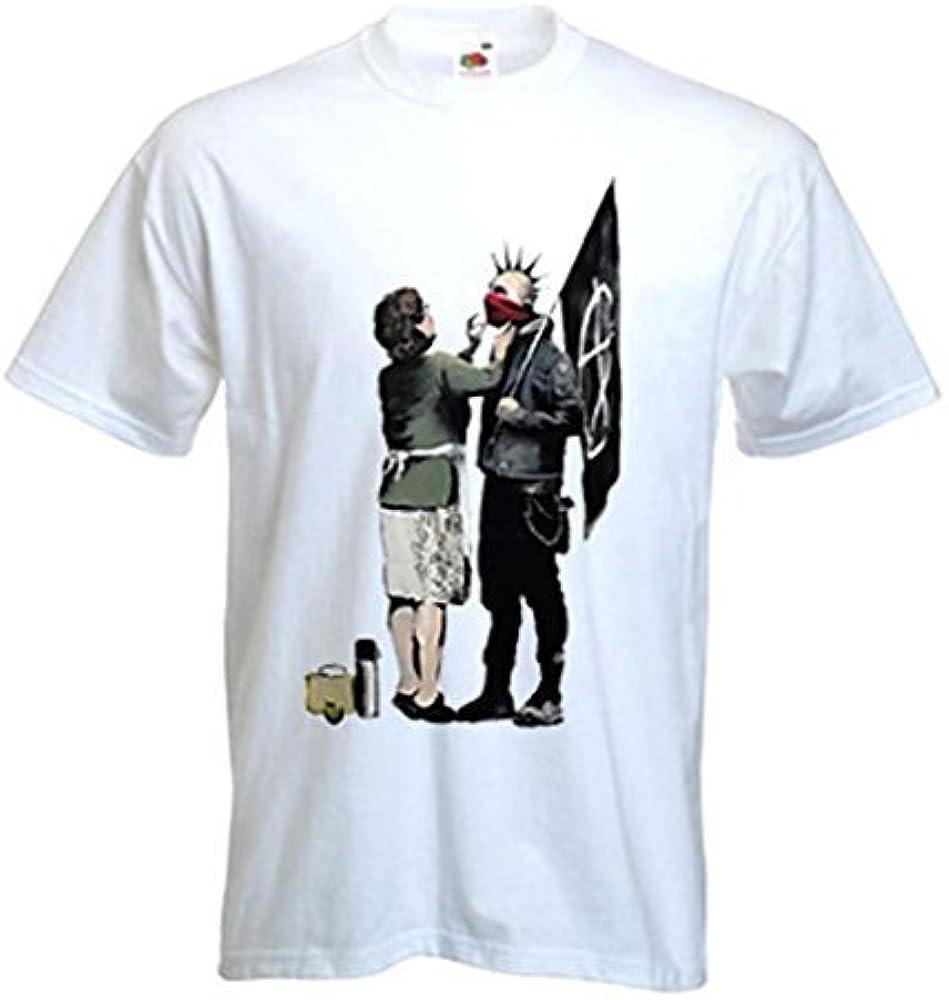 Camiseta para hombre de Banksy Punk Mum Blanco blanco S: Amazon.es: Ropa y accesorios