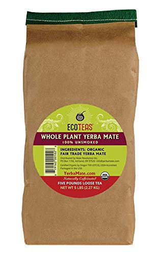 ECOTEAS Organic Yerba Mate Loose Tea Traditional Cut, 5 Pounds