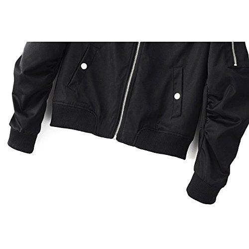 Outwear Autunno Nero Uomo Baseball Moda Zipper Ragazzi Cappotto Ragazze Inverno Capospalla per Pilota Donna Giacche Hibote qRnSS6