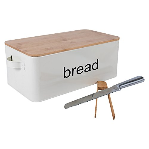 LifeSmart Bread Box Cutting Board and Bread Accessories- Bamboo - 12.5 inches by 6.5 inches by 4 inches - Includes Bonus Bread Knife and Bamboo Toast Tongs by LifeSmart