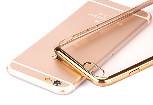 Ekakashop Apple iphone 5/5s Hülle Muster, Mode Ultra Dünn Weich Silikon Klar Crystal Bling Glitzer Plating Überzug Gold Handyhülle Back Case Cover für iphone 5s, iphone 5/5s Durchsichtig Transparent T