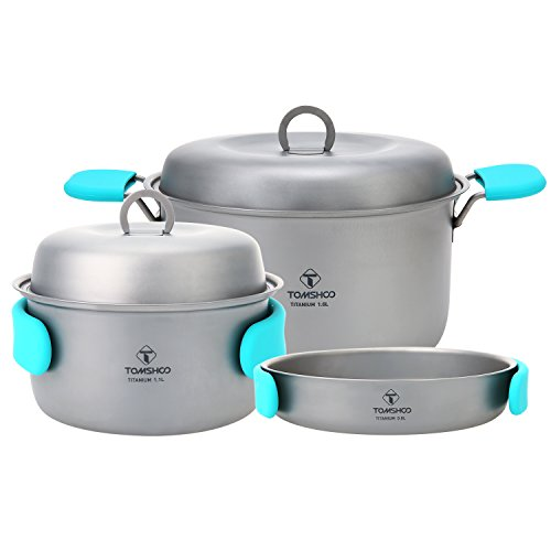TOMSHOO Titanium Camping Stove Titanium Cup Mug Pot Compact Durable Portable Camping Cookware Mess Kit with Pot Spork Pan Water Bottle(Optional) (Titanium Fry Pan-4)