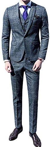 メンズ スーツ3点セット ビジネススーツ お洒落 スリム シングル一つボタン スタイリッシュ スリーピーススーツ ベスト付き チェック柄 秋 冬