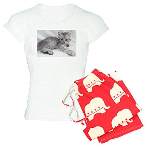 CafePress Miakira Siberian Kittens - Womens Novelty Cotton Pajama Set, Comfortable PJ Sleepwear