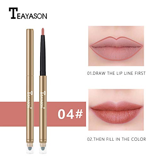 TAOtTAO Double Head Automatic Waterproof Velvet Long Lasting Matte Lipliner Pencil Pen