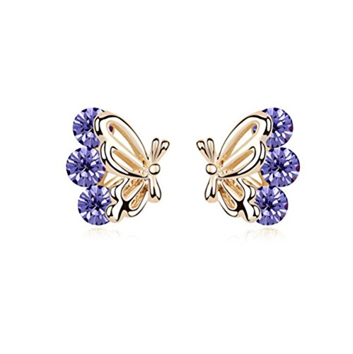 Gorgeous Jewelry Butterfly Wings Diamond Accented Style Beautiful Tanzanite Purple Crystal Champagne Gold Plated Color Females Stud (Cnd Crystal)