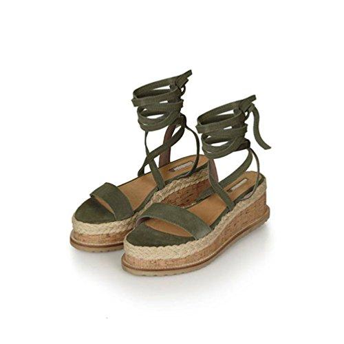 Romano Sandali Zeppa Traspirante Donna Verde Solido Piattaforma Stile Estive con Incrociate Yuanu Toe Impermeabile Peep Scarpe Confortevole Colore Cinghie vW8P1Ywqxq