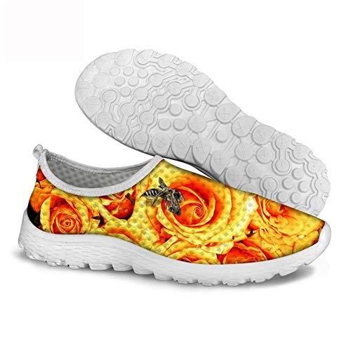 Ysfu Planos Flor Zapatillas Deporte Casuales Mujer Transpirables Primavera Para Zapatos Rosa Otoño Malla Y De Ligeros rr4qwY