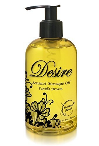 Desire Sensual Massage Oil - Best Massage Oil for Couples Massage – Perfect Gift for Her - All Natural - Contains Sweet Almond, Grapeseed & Jojoba Oil for Smooth Skin 8.5oz