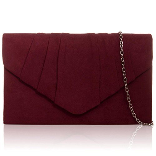 Xardi London New Faux Suede Leather Women Clutch Bridesmaid Envelope Ladies Evening Prom Bags Burgundy