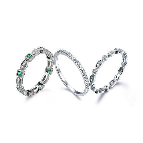 MYRAYGEM-wedding band 3 Solid 14k White Gold Green Emerald Diamond Stacking Bridal Band Set,Art Deco Vintage Wedding Rings Sets ()