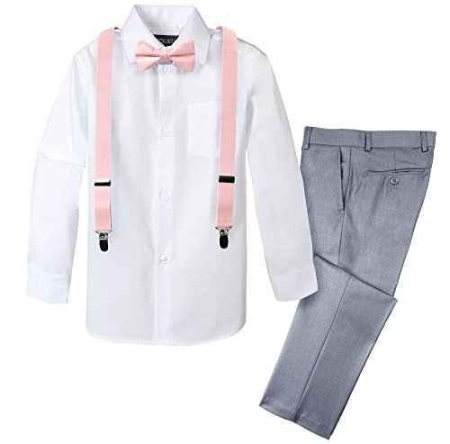 (Spring Notion Boys' 4-Piece Dress up Pants Set 2T Light Grey/Blush Pink)