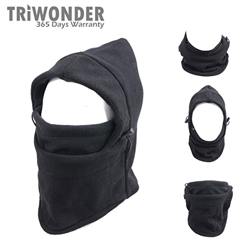 Triwonder 6 in 1 Thermal Fleece Balaclava Hood Police Swat Ski Bike Wind Stopper Mask (Black-3)