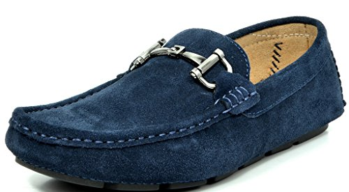Bruno MARC MODA ITALY LANE-02 Men's Classy Slip On Square Toe Silver Buckle Casual Loafers Driving Shoes NAVY SIZE 7
