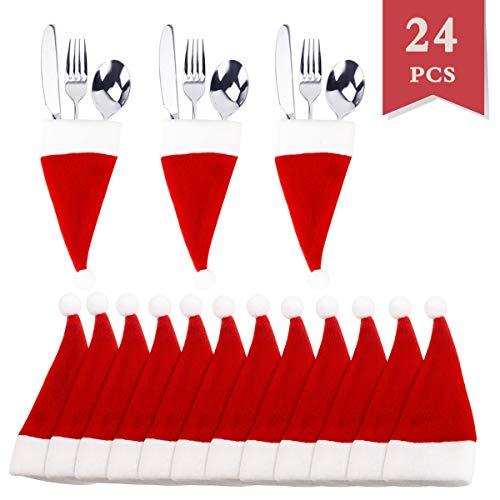 IFfree 24 pack Santa Claus Flatware Holder Silverware Holder Pockets, Christmas Santa Hats Silverware Holders, Kitchen Suit Silverware Holders Pockets Knifes Forks Bag]()