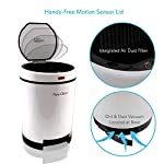 Smart Touchless Garbage Trash Bin - 1.3 Gallon Indoor Automatic Waste Can w/Motion Sensor Lid, Built-in Dirt Vacuum Kitchen, Bedroom, Office, Commercial Use, Picks Up Dog Hair - Pyle PKSVB18WT