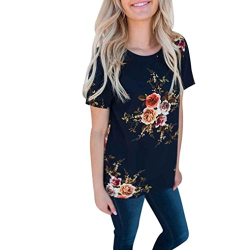 FEITONG Women Short Sleeve Floral Printing Blouse Casual Loose T Shirt(X-Large,Navy) (Hoodie Flannel Reversible)