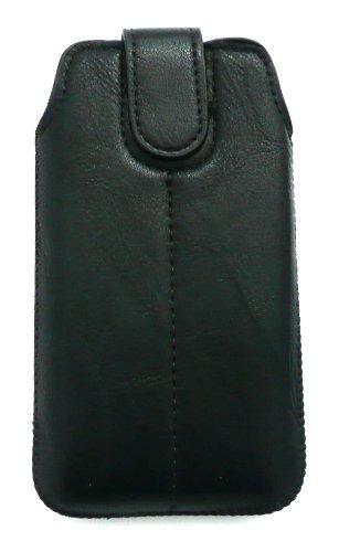 Emartbuy ® Stylus Pack Para Iphone De Apple 5 Slide Negro Cuero De La Pu Con Seguridad En Bolsa / Caja / Manga / Soporte (Tamaño 1) Con Mecanismo Pull Tab + Metallic Mini Negro Stylus + Protector De P