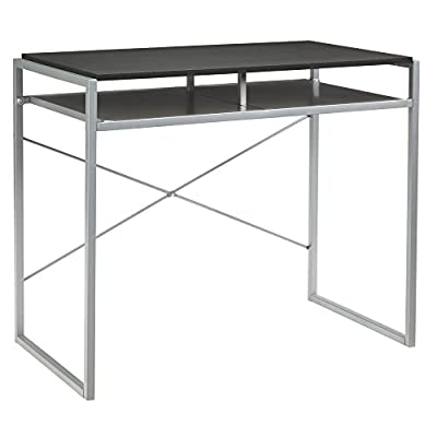 Signature Design by Ashley H300-010 Bertmond Home Office Desk Black - CONTEMPORARY HOME OFFICE DESK: Maximize your style and work capability with a do-it-all desk. Fashioned in a two-tone finish and modern profile, you'll enjoy it for years to come HANDSOMELY CRAFTED: Desk is made of metal and laminated engineered wood in a two-tone finish. Designed with an open storage shelf CLEAN LINES: Perfect for the modern minimalist, this desk's silver tone and black colors accentuate any space, small or large, while the extra shelf doubles your workstation storage - writing-desks, living-room-furniture, living-room - 41Xey23mIZL. SS400  -