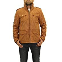 Mens Brown Tan Real Leather Quilted Fitted Smart Long Safari Blouson Coat