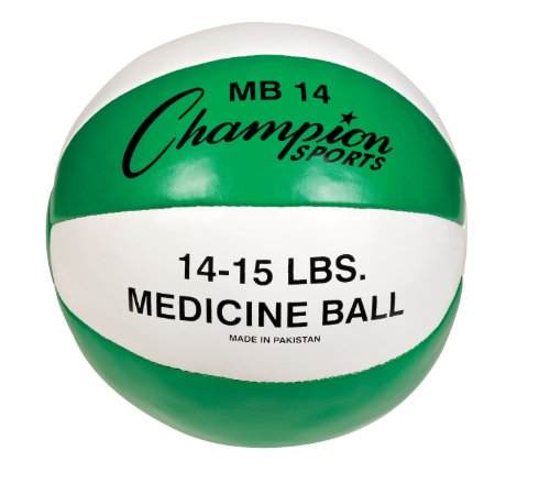 Champion Sports Leather Medicine Ball (Green/White, 15.43Lbs)