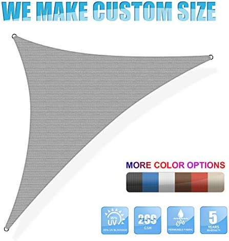 Amgo Custom Size Right Triangle 9 x 18 x 20.1 Grey Triangle Sun Shade Sail ATAPRT16 Canopy Awning, 95 UV Blockage, Water Air Permeable, Commercial and Residential Available for Custom Sizes